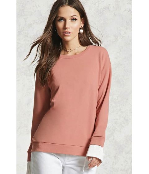 Imbracaminte Femei Forever21 Contrast Cuff Pullover DUSTY PINKIVORY
