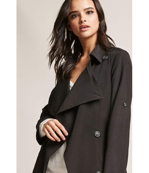 Imbracaminte Femei Forever21 Double-Breasted Trench Coat BLACK