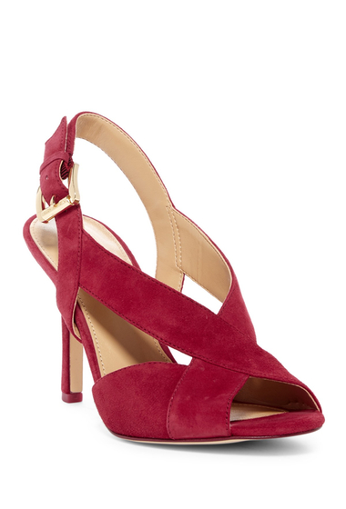 Incaltaminte Femei MICHAEL Michael Kors Becky Leather Slingback Sandal CRANBERRY