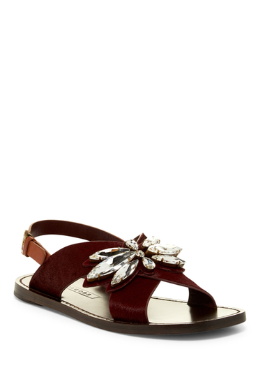 Incaltaminte Femei Marc Jacobs Essex Genuine Calf Hair Sandal BORDEAUX