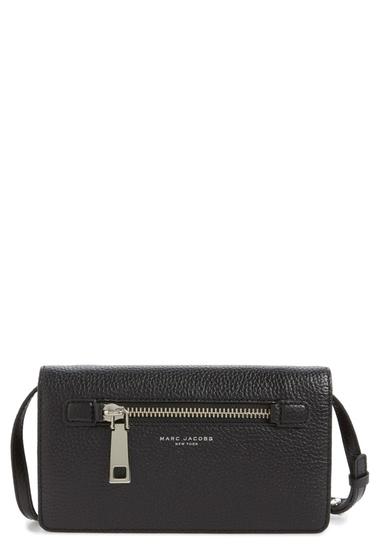 Genti Femei Marc Jacobs Gotham Pebbled Leather Crossbody Wallet BLACK