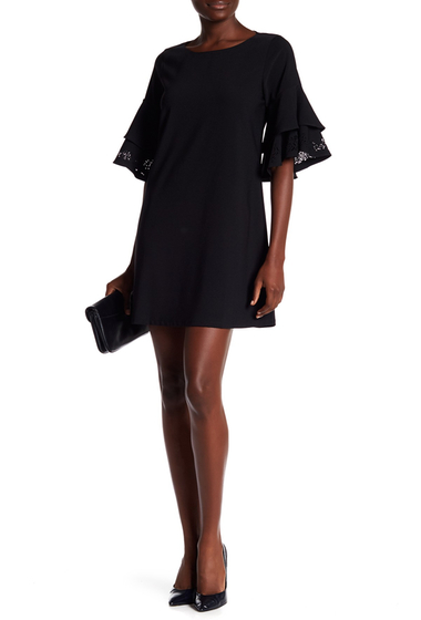 Imbracaminte Femei Laundry by Shelli Segal Laser-Cut Ruffle Sleeve Shift Dress BLACK