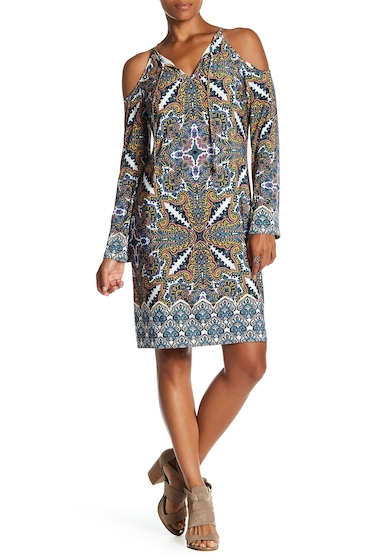 Imbracaminte Femei London Times Paisley Cold Shoulder Shift Dress MULTI