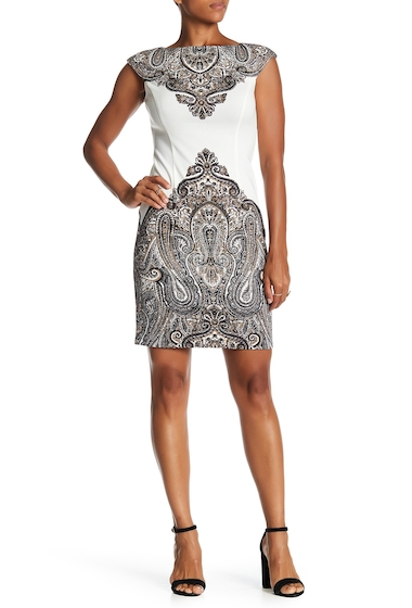 Imbracaminte Femei London Times Regal Paisley Cap Sleeve Sheath Dress WHT-BLK