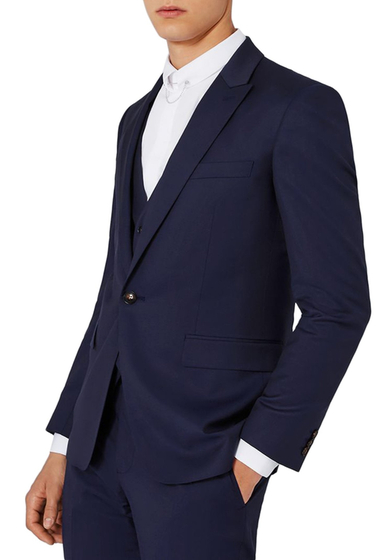 Imbracaminte Barbati TOPMAN Charlie Casely-Hayford x Skinny Fit Twill Suit Jacket MID BLUE