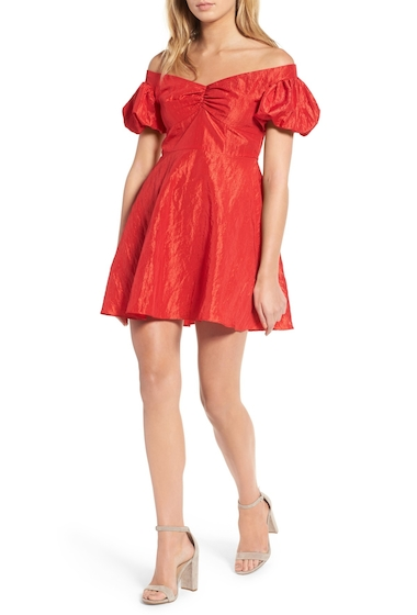 Imbracaminte Femei TOPSHOP Taffy Puff Sleeve Off the Shoulder Dress RED