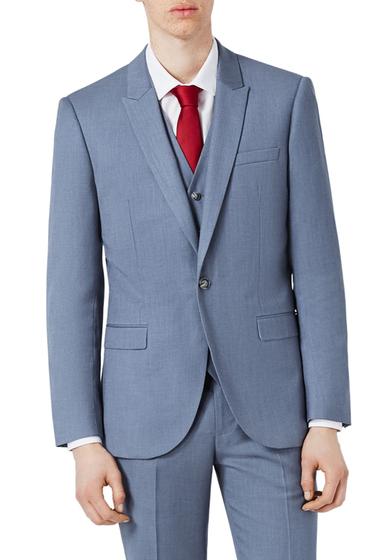 Imbracaminte Barbati TOPMAN Skinny Fit Crosshatch Suit Jacket MID BLUE