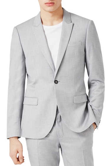 Imbracaminte Barbati TOPMAN Skinny Fit Crosshatch Suit Jacket GREY