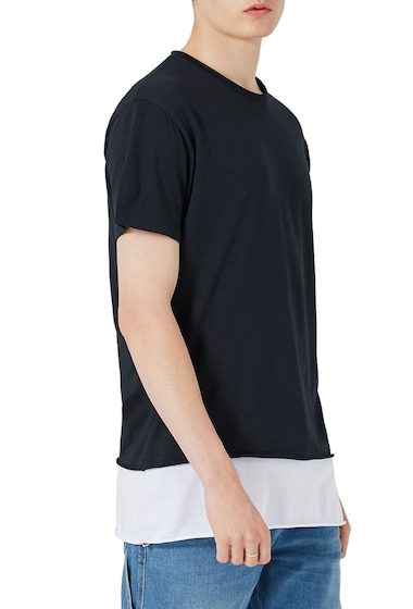 Imbracaminte Barbati TOPMAN Double Layer Longline T-Shirt BLUE MULTI
