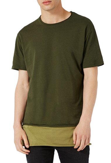 Imbracaminte Barbati TOPMAN Double Layer Longline T-Shirt OLIVE MULTI