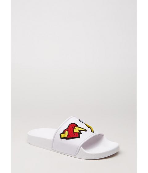 Incaltaminte Femei CheapChic Bolt Of Lightning Patch Slide Sandals White