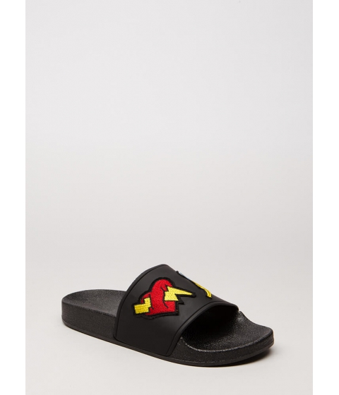 Incaltaminte Femei CheapChic Bolt Of Lightning Patch Slide Sandals Black