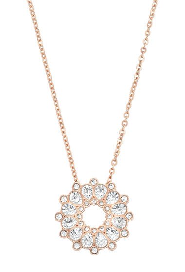Bijuterii Femei Swarovski 18K Rose Gold Plated Asset Crystal Pendant Necklace CLEAR CRYSTAL