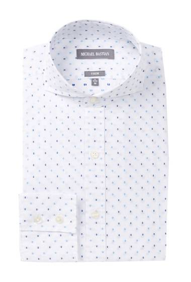 Imbracaminte Barbati MICHAEL BASTIAN Graphic Dobby Trim Fit Dress Shirt WHITE-BLUE