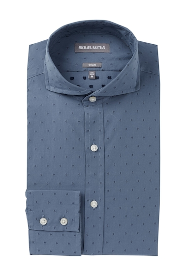 Imbracaminte Barbati MICHAEL BASTIAN Diamond Dobby Trim Fit Dress Shirt INDIGO