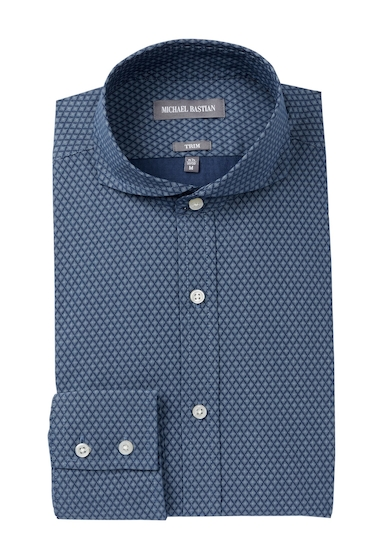 Imbracaminte Barbati MICHAEL BASTIAN Diamond Print Trim Fit Dress Shirt NAVY