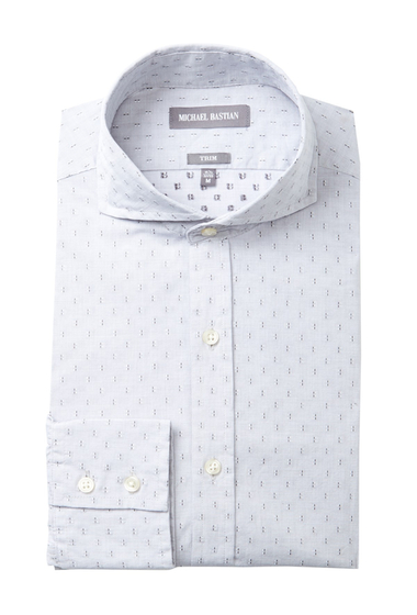 Imbracaminte Barbati MICHAEL BASTIAN Graphic Dobby Trim Fit Dress Shirt WHITE-GREY
