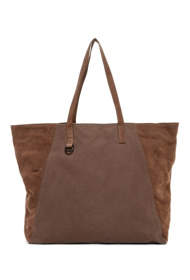 Genti Barbati ALLSAINTS Aichi Cow Leather Trim Tote Bag WASHED TAUPE