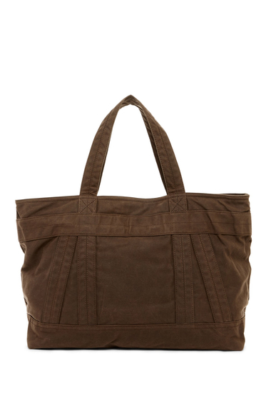 Genti Barbati ALLSAINTS Tour Cow Leather Trim Weekend Tote Bag DARK KHAKI