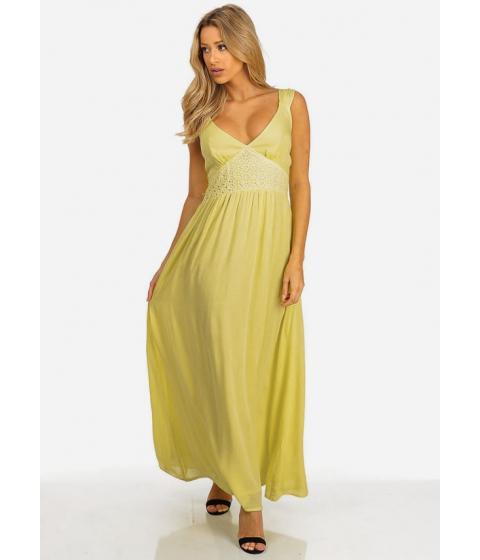 Imbracaminte Femei CheapChic Womens Yellow V-Neck with Crochet Details Maxi Sundress Multicolor