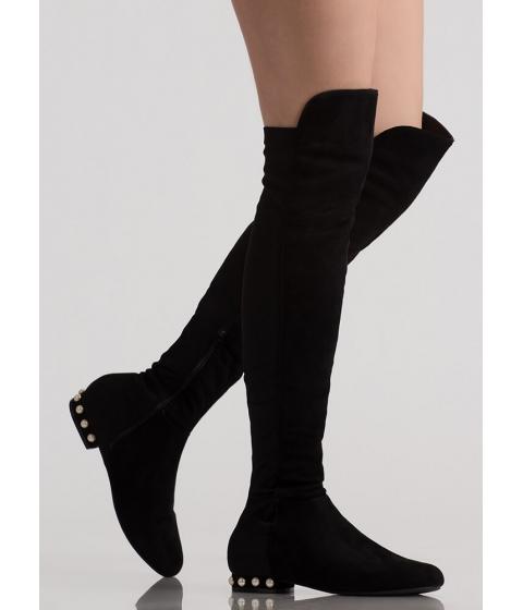 Incaltaminte Femei CheapChic Precious Pearls Flat Thigh-high Boots Black
