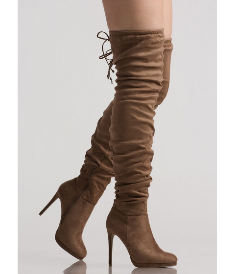 Incaltaminte Femei CheapChic Scrunch Up Tall Slouchy Thigh-high Boots Taupe