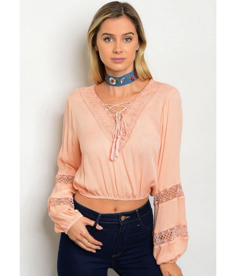 Imbracaminte Femei CheapChic Peach Long Sleeve Crochet Lace Neck Crop Top Multicolor