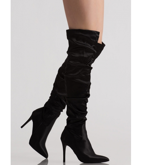 Incaltaminte Femei CheapChic Slouch On Pointy Satin Thigh-high Boots Black