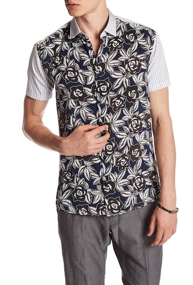 Imbracaminte Barbati DAVID NAMAN Mixed Trim Fit Media Short Sleeve Shirt PRINT BLUE