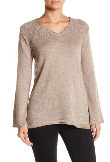 Imbracaminte Femei Democracy Metallic V-Neck Sweater FLX FLAX