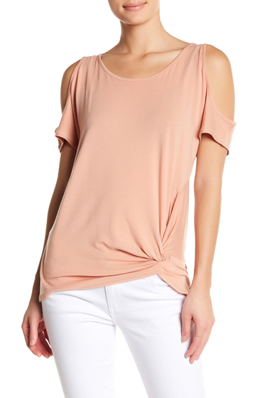 Imbracaminte Femei Democracy Twisted Cold Shoulder Tee BIS BISQUE