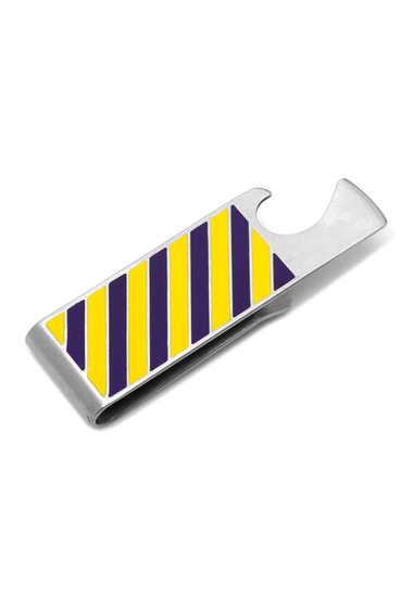 Accesorii Barbati Cufflinks Inc Varsity Stripes Purple and Yellow Bottle Opener Money Clip NO COLOR