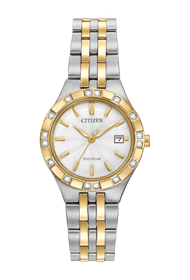 Ceasuri Femei Citizen Watches Womens Eco-Drive Two-Tone Stainless Diamond Bracelet Watch 27mm - 00053 ctw NO COLOR