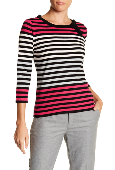 Imbracaminte Femei CeCe by Cynthia Steffe Colorblock Stripe Bow Sweater RICH BLACK