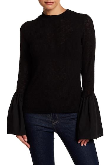 Imbracaminte Femei CAD Mock Neck Poplin Bell Sleeve Knit Top BLACK