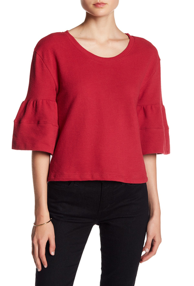 Imbracaminte Femei Caslon 34 Bell Sleeve Striped Blouse RED SPICE