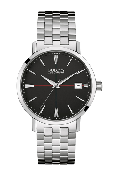 Ceasuri Barbati Bulova Mens Dress Bracelet Watch 39mm SILVER-BLACK