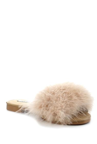 Incaltaminte Femei Cape Robbin Feather Slide Sandal NUDE