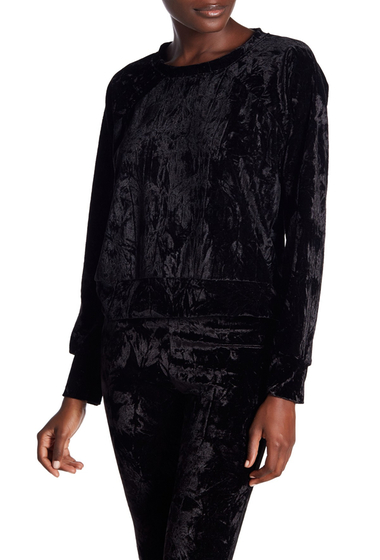 Imbracaminte Femei Free Press Crushed Velvet Pullover Sweatshirt BLACK