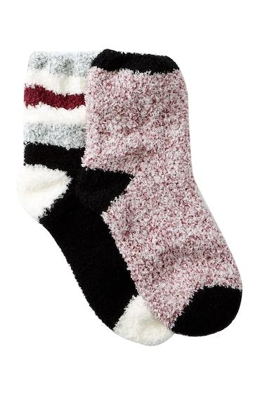 Accesorii Femei Free Press Patterned Micro Crew Fuzzy Socks - Pack of 2 BLACK ATHLETIC STRIPE