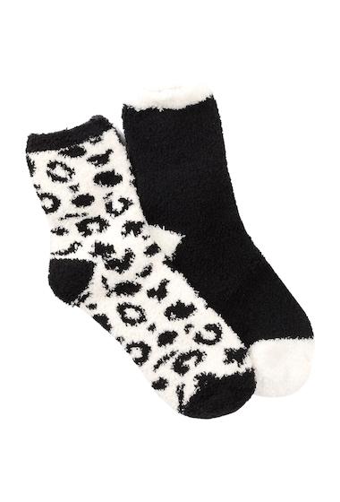 Accesorii Femei Free Press Patterned Micro Crew Fuzzy Socks - Pack of 2 IVORY PRISTINE LEOPARD