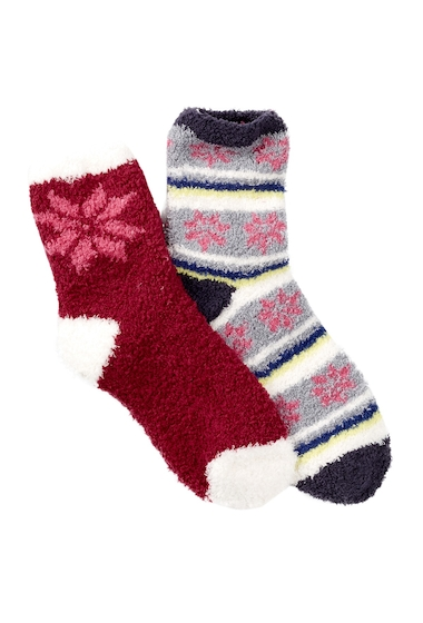 Accesorii Femei Free Press Patterned Micro Crew Fuzzy Socks - Pack of 2 GREY SLEET SNOWFLAKE