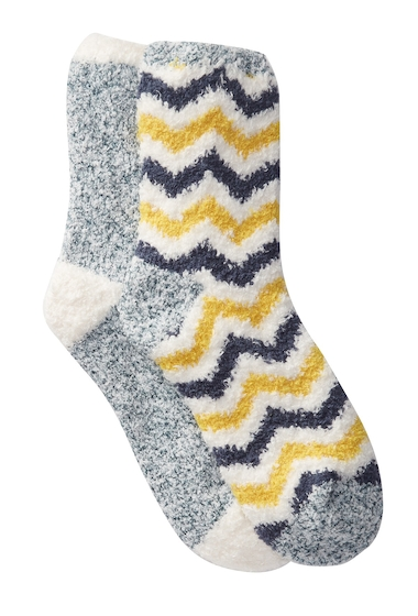 Accesorii Femei Free Press Patterned Micro Crew Fuzzy Socks - Pack of 2 YELLOW CHEVRON