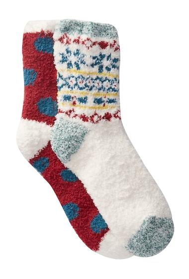 Accesorii Femei Free Press Patterned Micro Crew Fuzzy Socks - Pack of 2 IVORY PRISTINE PLACED FAIRISLE