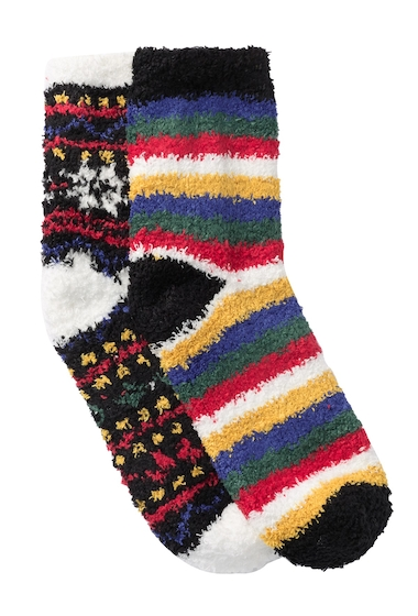 Accesorii Femei Free Press Patterned Micro Crew Fuzzy Socks - Pack of 2 BLACK HOLIDAY SWEATER
