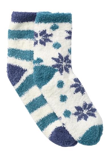 Accesorii Femei Free Press Patterned Micro Crew Fuzzy Socks - Pack of 2 IVORY PRISTINE FALLING SNWFLK