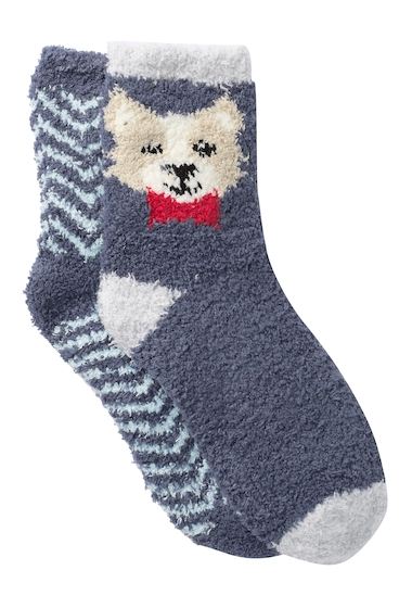 Accesorii Femei Free Press Patterned Fuzzy Socks - Pack of 2 NAVY INDIGO BOWTIE PUP