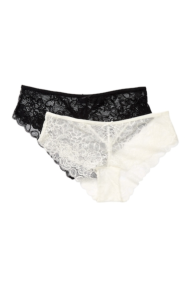 Imbracaminte Femei Free Press Lace Hipster Panties - Pack of 2 BLACK-IVORY EGRET