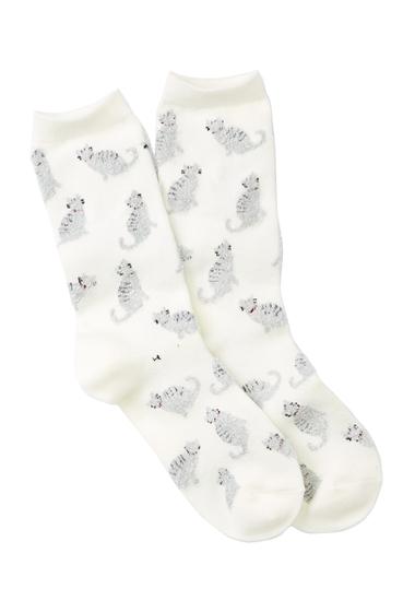 Accesorii Femei Free Press Fuzzy Yarn Animal Crew Socks IVORY FUZZY KITTY