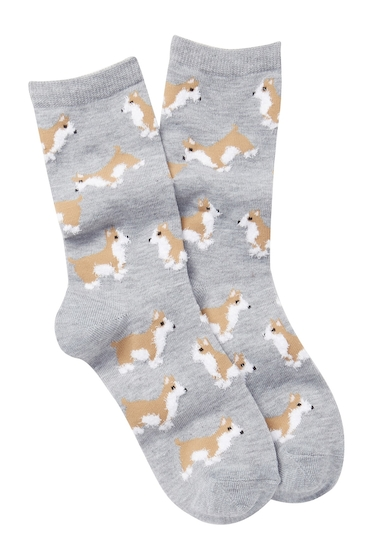 Accesorii Femei Free Press Fuzzy Yarn Animal Crew Socks LIGHT GREY HEATHER CORGI